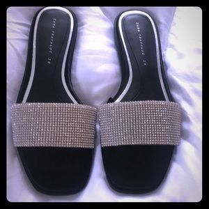 Zara crystal slides-size 38. NBW. Narrow feet